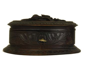 Antique Black Forest Wood Jewelry Box. Hand Carved Wooden Trinket Box. Gifts For Her. Treen Art.