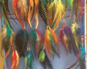 colorful feathers, feather earrings, feathers, boho earrings, lightweight jewelry, colorful feather earrings, cruelty free feathers