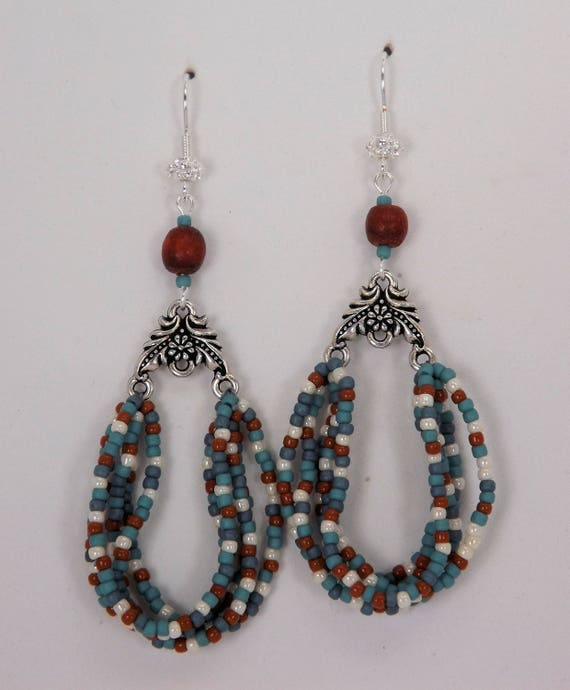 The Colors of the Southwest Earrings- Turquoise, Terra Cotta & White