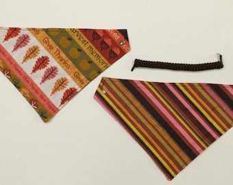 Give Thanks, reversible pet bandana, sizes XS-XL, dog bandana, pet wear, fall seaons pet wear, pet bandanas