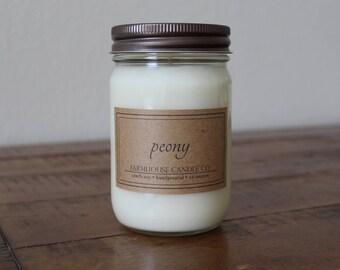 Peony Soy Mason Jar Candle - 12 ounce