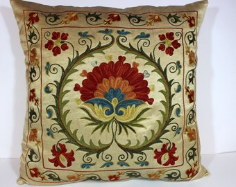 Silk Suzani Pillow cover, Suzani Pillow, Bohemian Pillow, Boho Pillow, Moroccan Pillow, Decorative Pillows, Accent Pillows, SPV 137