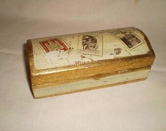 Vintage Italian Florentine Gilded Desktop Stamp Box