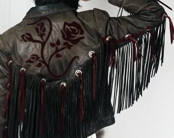 Leather Southwest Floral Fringe Jacket