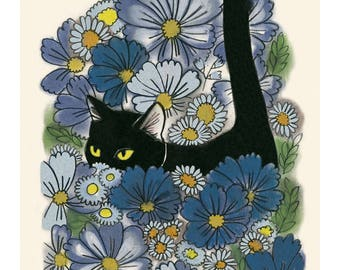"""Cat illustration - Cat print -  A Walk in the Garden  - 4"""" X 6"""" print - 4 for 3 sale"""