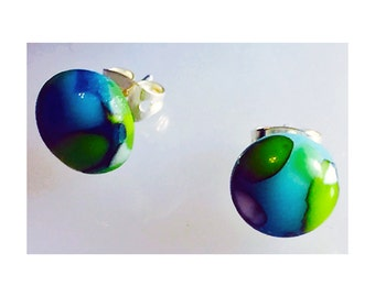 Kiln fused small round glass earrings