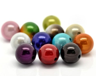 20 Large Glow Beads Assorted Colors 14mm - BD041