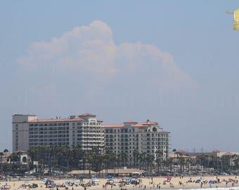 High Cumulus Cloud Over Huntington Beach Pacific Ocean Photograph Prints up to 16x24, Postcards, Coffee Mug, Throw Pillow Christmas Gift