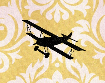 Airplane Stamp: Wood Mounted Rubber Stamp