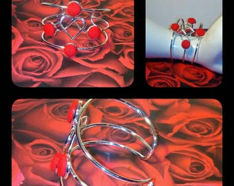 Denim Heart Centered Cuff Bracelet