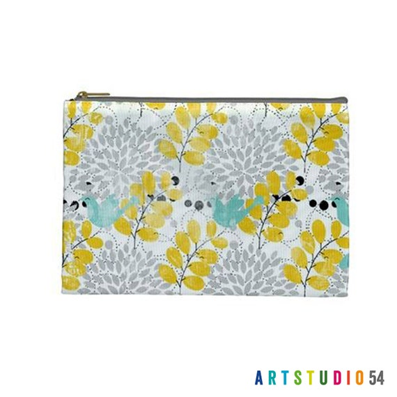 """Yellow and Blue Birds Leaves on a Pouch, Make Up, Cosmetic Case Travel Bag - 9"""" X 6"""" -  Large -  Made by artstudio54"""