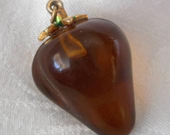 Small VINTAGE Amber Plastic Fruit Charm