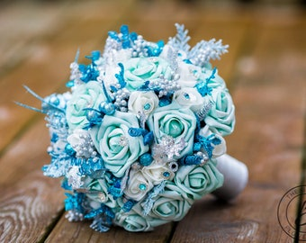 Blue winter wedding bouquet, glitter wedding bouquet, turquoise bouquet, aqua wedding bouquet, glitter bouquet, winter snowflake wedding