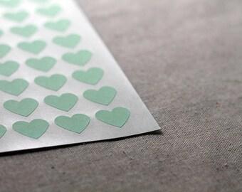 108 Mini Mint Green Heart Envelope Seals - .75-inch Heart Labels - 3/4 inch Heart Labels