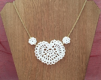 White Crochet Heart and Flower 18 Inch Gold Necklace With 2 inch Extender