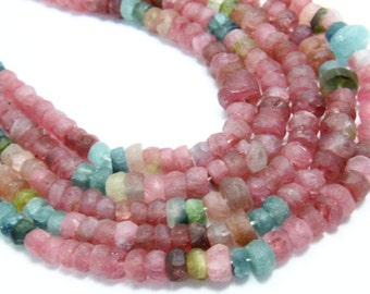 "14"" Full Strand Natural Multi Tourmaline Gemstone Rondelle, Matte Finished  Shape, Size - 5mm-3mm, Tourmaline Gemstone"