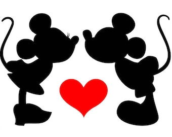 Mickey and Minnie Kissing in love, Vinyl Decal