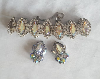 Vintage Weiss Aurora Borealis Bracelet and Earrings Set Wedding Anniversary Special Occasion