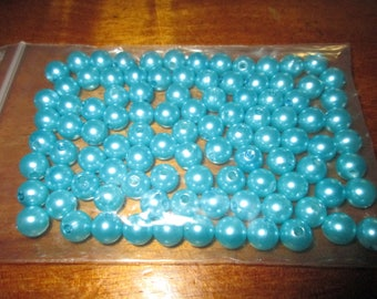 Lot 100 8 mm turquoise satin plastic beads