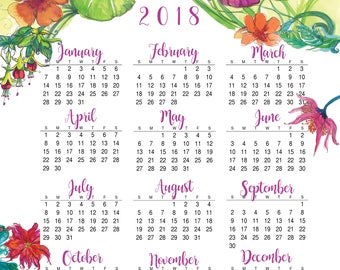 2018 calendar, ON SALE, Illustrated wall print, Year at a glance, Bright colorful flowers, Wall Art, FREE shipping