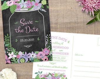 Chalkboard Mason Jar Floral Save the Date Postcard, Printable, Evite or Printed (US Only) Postcards, Choice of 3 floral tones