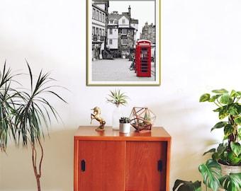 Edinburgh Print, Large City Wall Art, Red Phone Box, Black and White Photography, Architectural Print, Urban, Telephone Booth, Scotland Art