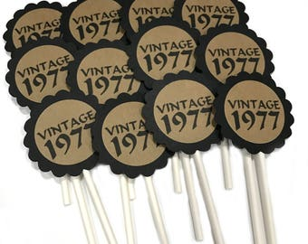 40th Birthday Cupcake Toppers - VINTAGE 1978, Black and Kraft Brown or Your Colors, Set of 12