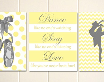 Baby girl nursery, ballet art, ballerina nursery, little girls room art, girls wall art, dance like no ones watching