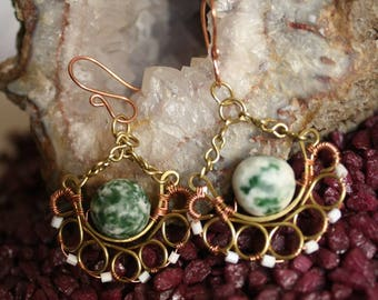 Wire Wrapped Brass Earrings