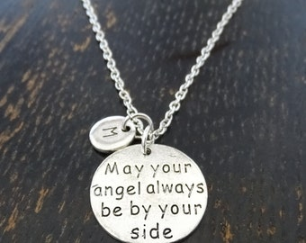 May Your Angel Always Be By Your Side Necklace, Angel Necklace, Angel Jewelry, Angel Pendant, Angel Charm, Daughter, Sister, Mom, Aunt,Niece
