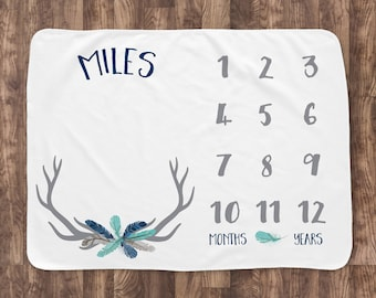 Baby Milestone Blanket- Baby Month Blanket - Deer Antler Feather - Boy - Baby Blanket - Track Growth and Age - Baby Shower Gift  30x40
