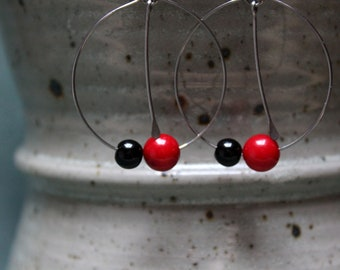 Surgical steel earrings coral beads and glass beads