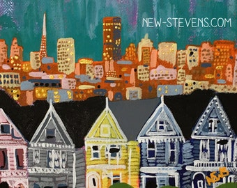 """Painting - Title: Painted Ladies - San Francisco, California - 6""""x6"""" Acrylic on CANVAS by Nicole Werner Stevens"""