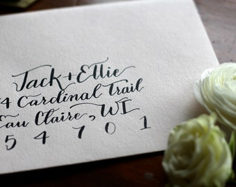 Black ink envelope suite addressing | Custom calligraphy | Wedding invitation or Save the date
