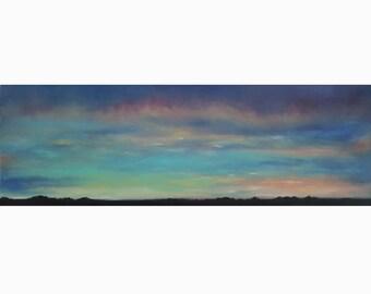 Last Light on the Prairies: Original Oil Finger-Painting