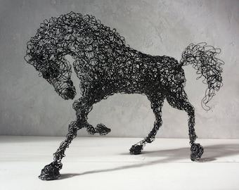 Wire horse sculpture, Horse sculpture, Wedding gift, Father's Day gift, Gift mom, Birthday gift, Husband gift, Gift men, Anniversary gift