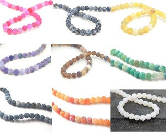 10 round agate beads Crackle effect 6mm //couleur choice