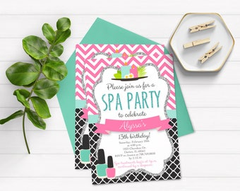 Spa Day Birthday Invitation, Spa Party Invite, Spa Invitation, Printable Invitation, Birthday Party Invite