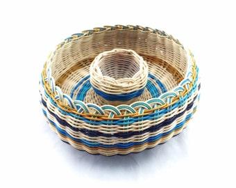 Basket Double Woven Cherokee Made Blue Stripe  Tsalagi