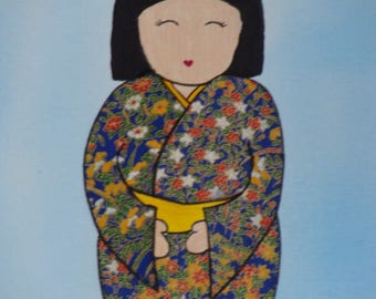 KOKESHI 4 - acrylic on canvas frame