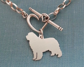 Newfoundland Dog Chain Bracelet, Newfy sterling Silver Personalize Pendant, Breed Silhouette Charm, Rescue Shelter, Memorial Gift