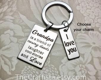 GK2, Grandpa Keychain, 3 Charms, Gift for Grandpa, Grandpa Gifts, Gift Ideas for Grandpa, Papaw Keychain, Grandpa Gift, Grandfather Gifts