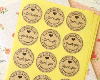 Kraft Paper THANK YOU Especially for You Handmade with Love printed round sticker labels