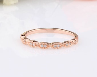 Rose Gold CZ Half Eternity Marquise Design Wedding Engagement Sterling Silver Band Ring / Rose Gold Ring / Stackable Wedding Band