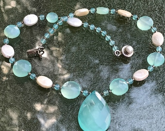 """Seafoam Chalcedony  Bead Pearl Sterling Necklace  18"""""""