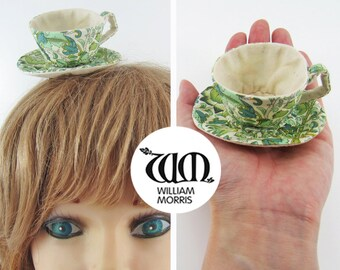 MADE-TO-ORDER ( 1 - 2 Weeks)- Miniature Teacup Hair Slide-William Morris Print Green on Liberty Fabric