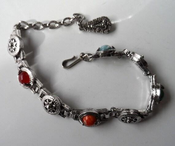 Vintage Silver Tone Celtic Polished Stones Bracelet - 7 - 8inch