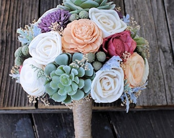 Alternative Wedding Bouquet - Faux Succulents, Dusty Miller, Sola Flowers, Silver Brunia, Keepsake Bouquet, Boho Bride, Bridal Bouquet