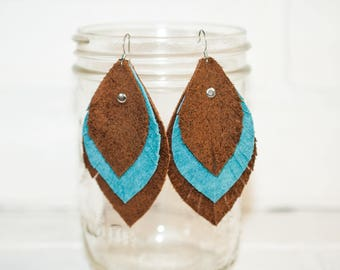 "3 1/2"", recycled, brown suede feather earrings, leaf earrings, boho earrings, dangle earrings, feather earrings, tassel earrings, stacylynnc"