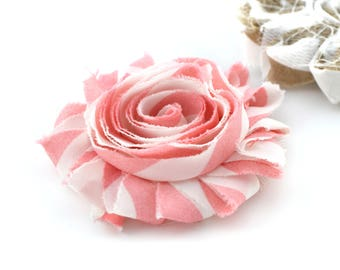 Pink and white striped 6cm, sew fabric flower